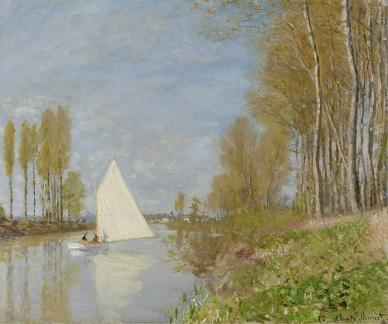 Claude Monet - Small Boat on the Small Branch of the Seine at Argenteuil, 1872. Картины с аукционов Sotheby's