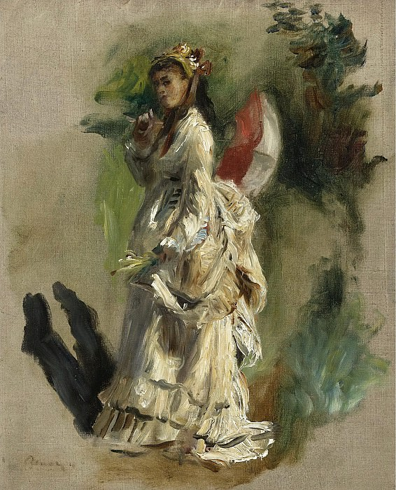 Pierre Auguste Renoir - Young Woman with a Parasol, 1868. Sotheby's