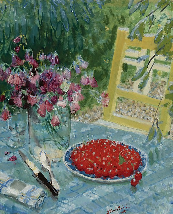 Pierre-Eugene Montezin - Still Life with Cherries. Sotheby's