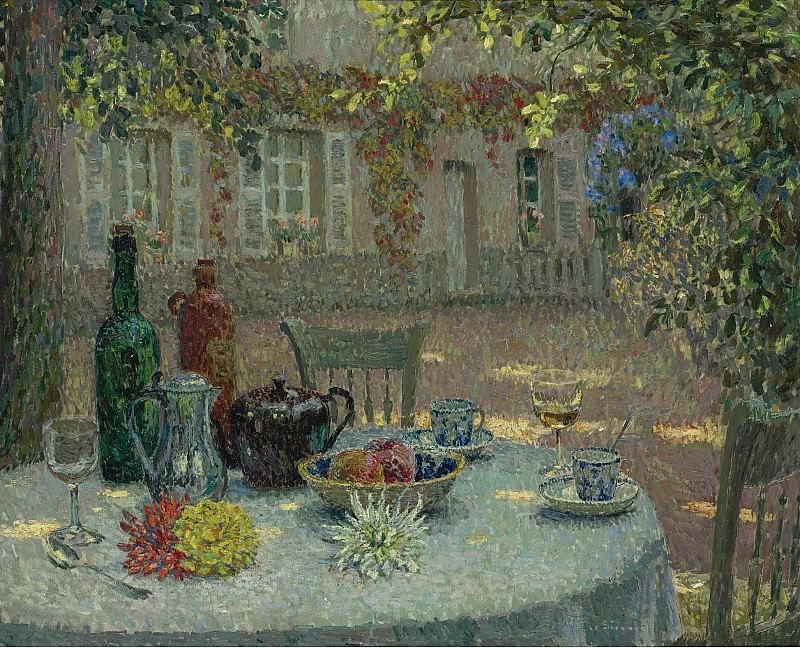 Henri Le Sidaner - Table with Dahlias, 1918. Картины с аукционов Sotheby's