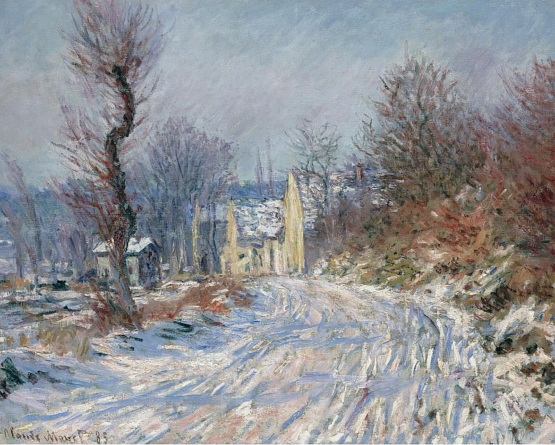 Claude Monet - The Road at Giverny in Winter, 1885. Картины с аукционов Sotheby's