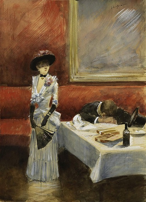 Jean-Louis Forain - At the Restaurant, 1885. Sotheby's