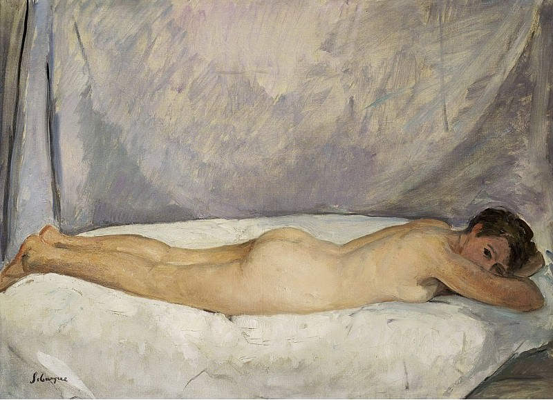 Henri Lebasque - Female Nude Laying, 1928. Sotheby's