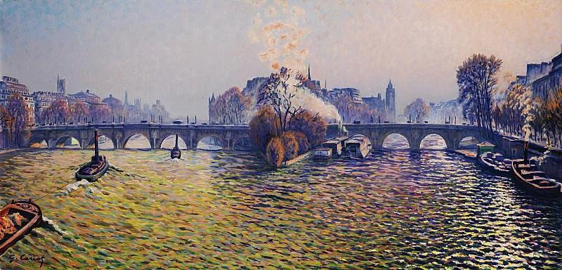 Gustave Cariot - Pont Neuf, Autumn, Bateux-Lavoir, 1940. Sotheby's
