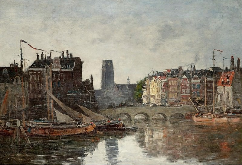 Eugene Boudin - Rotterdam the Bridge of Bourse, 1876. Картины с аукционов Sotheby's
