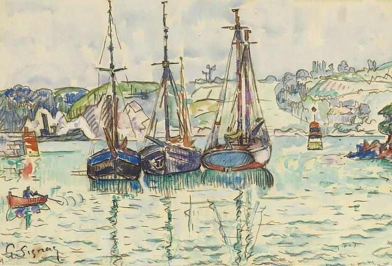 Paul Signac - Three Boats. Sotheby's