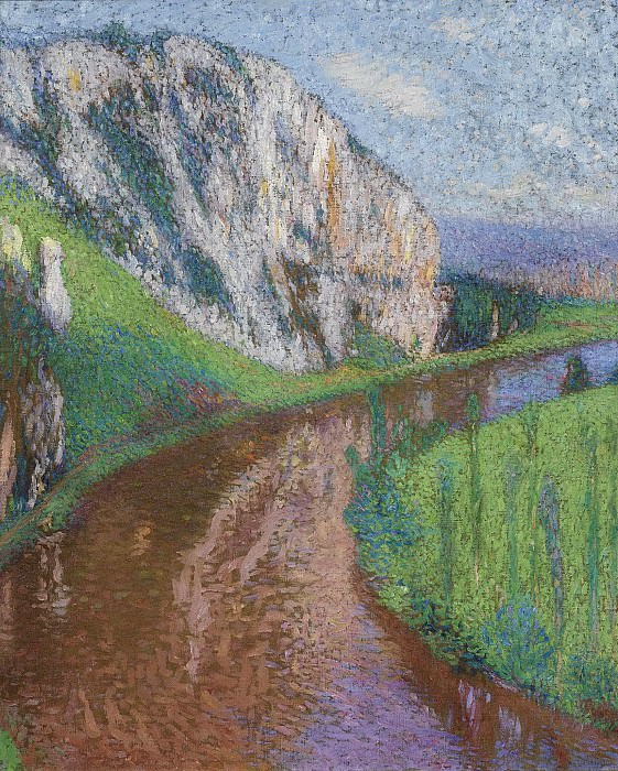 Henri Martin - The River of Lot and the Cliffs of Saint- Cirq-Lapopie, 1930s. Sotheby's