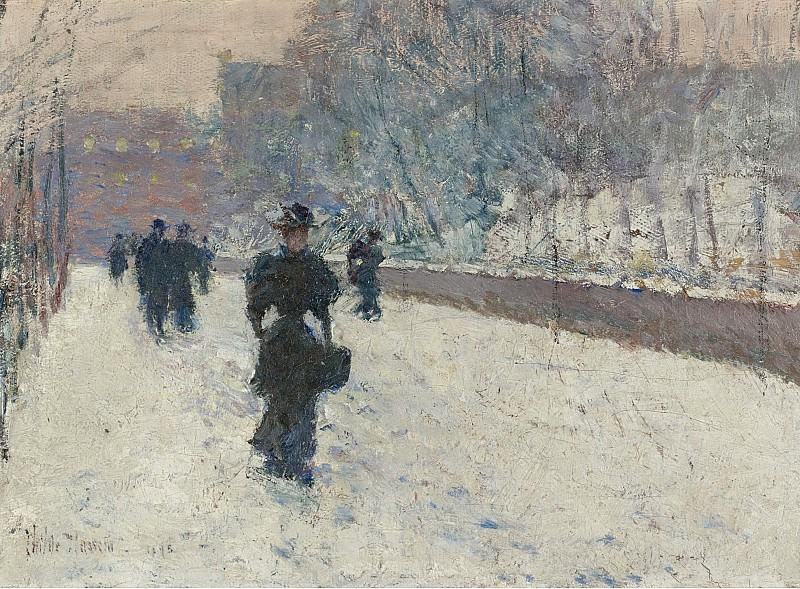 Frederick Childe Hassam - The Promenade, Winter in New York, 1895. Sotheby's