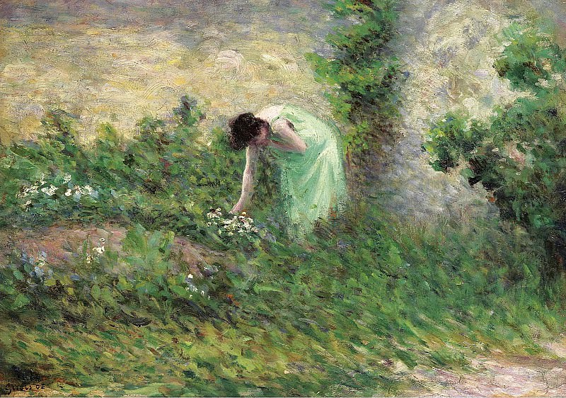 Maximilien Luce - Gisors, Woman Picking Flowers, 1902. Sotheby's