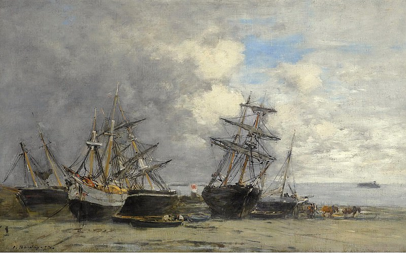 Eugene Boudin - Portrieux, Vessels on the Sand, 1873. Sotheby's
