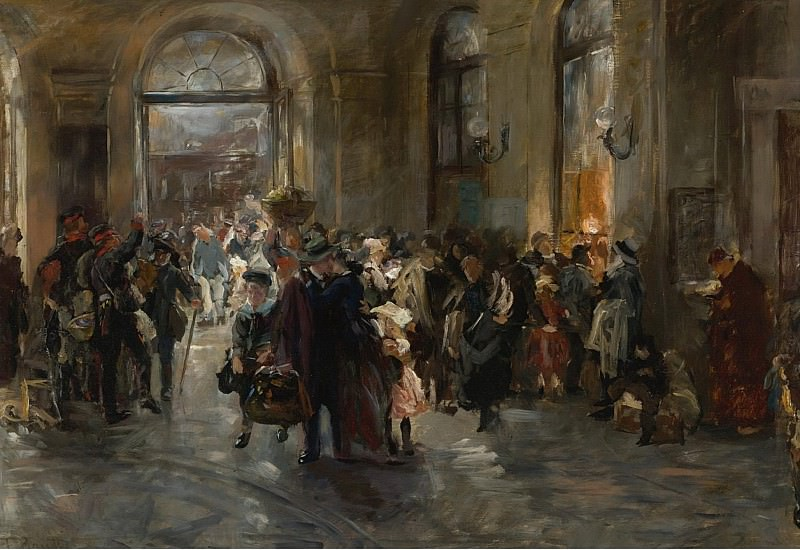 Ferdinand Brutt - At the Station. Sotheby's
