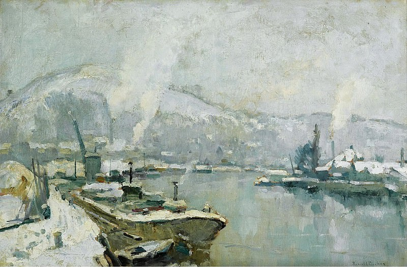 Robert-Antoine Pinchon - The Seine and Sainte Catherine Hill at Rouen in Winter, 1930-35. Sotheby's