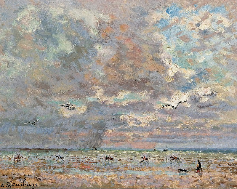 Andre Hambourg - Deauwille in January. Картины с аукционов Sotheby's
