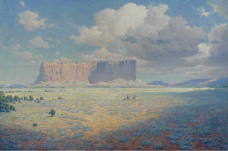 William R. Leigh - Arizona Landscape with Two Riders, 1911. Sotheby's