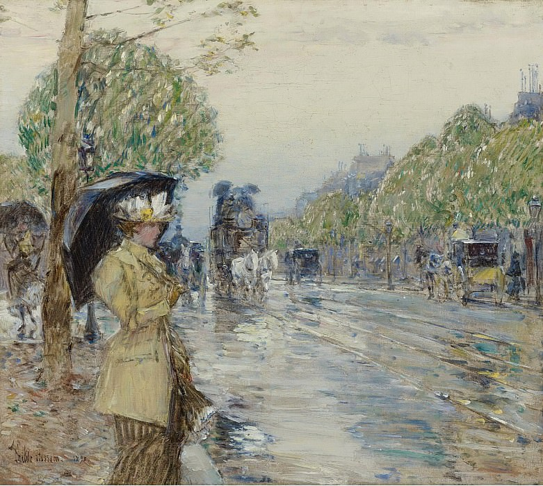 Frederick Childe Hassam - Rainy Day on the Avenue, 1893. Sotheby's