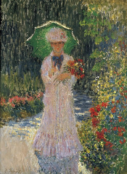 Claude Monet - Camille with Green Umbrella, 1876. Картины с аукционов Sotheby's