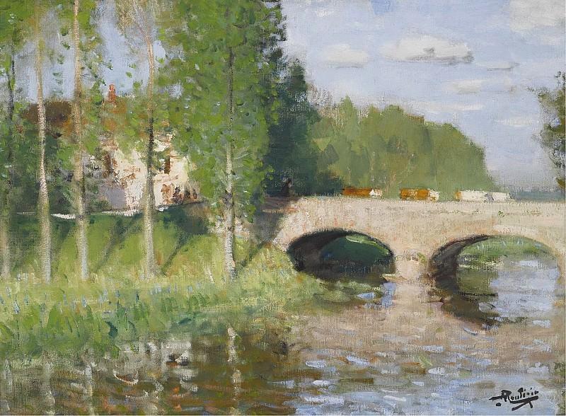 Монтезин, Пьер Эжен - Bridge upon the River, Sainte-Gemme-Moronval. Картины с аукционов Sotheby's