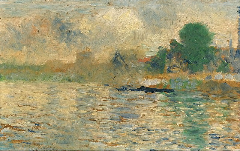 Georges Seurat - Barge on the Seine, 1884. Sotheby's
