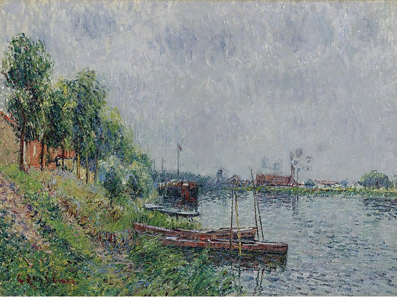 Gustave Loiseau - The Riverbank, Oise, 1900. Sotheby's