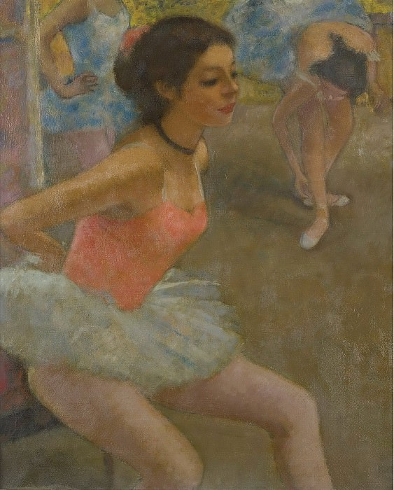 Francois Gall - Ballerine Marie-Lize behind the Curtains Preparing to Dance. Sotheby's