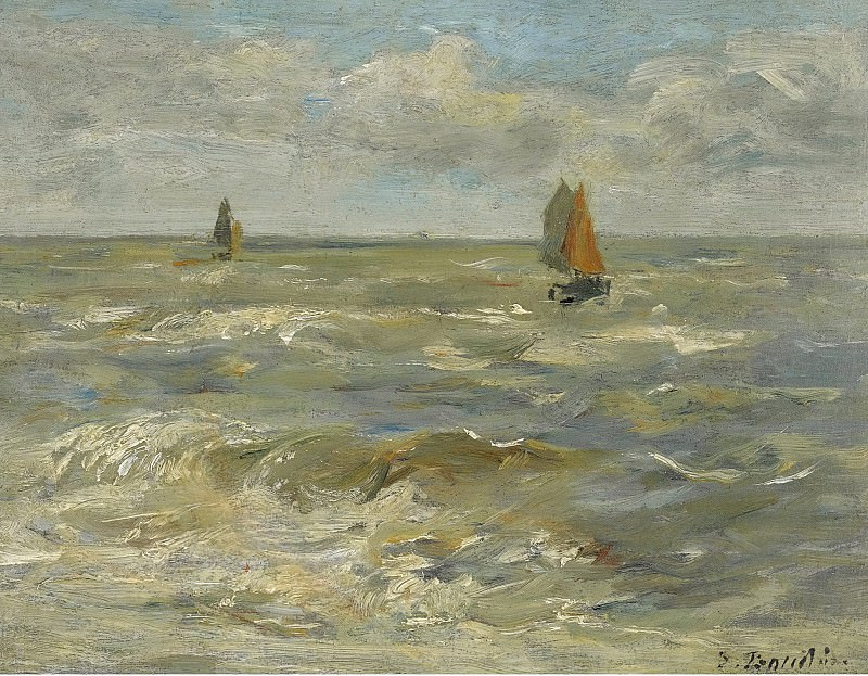 Eugene Boudin - Boats in the Sea, 1888-95. Sotheby's