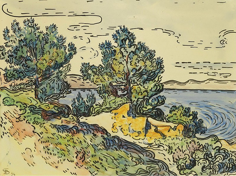 Paul Signac - Landscape of the Seashore with Trees, 1894. Sotheby's