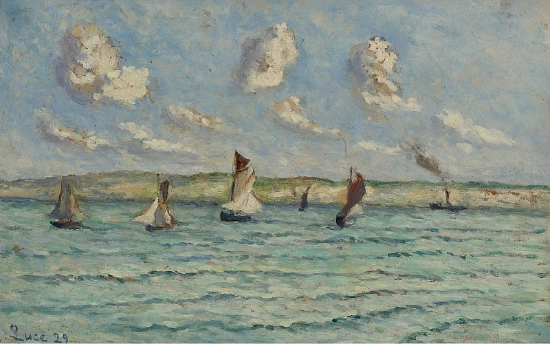 Maximilien Luce - Honfleur, Sailers and Tug-Boats, 1929. Sotheby's