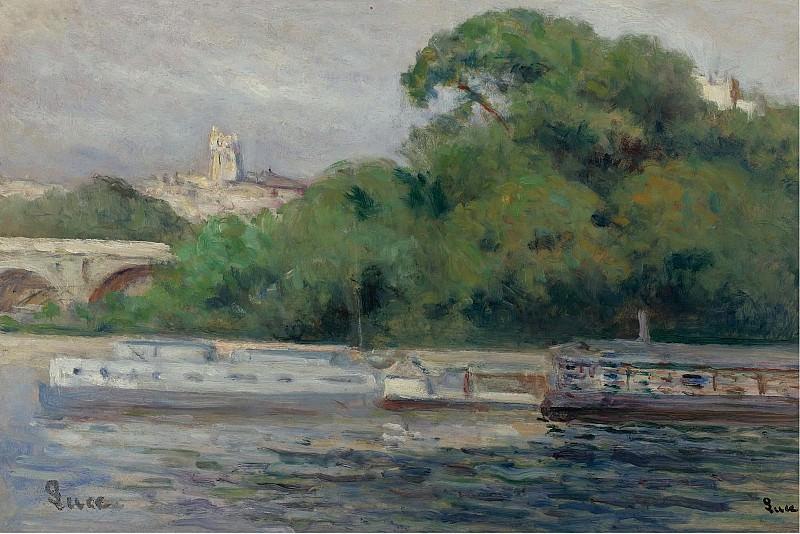 Люс, Максимильен - The Boats in Front of Trees and Bridge. Картины с аукционов Sotheby's