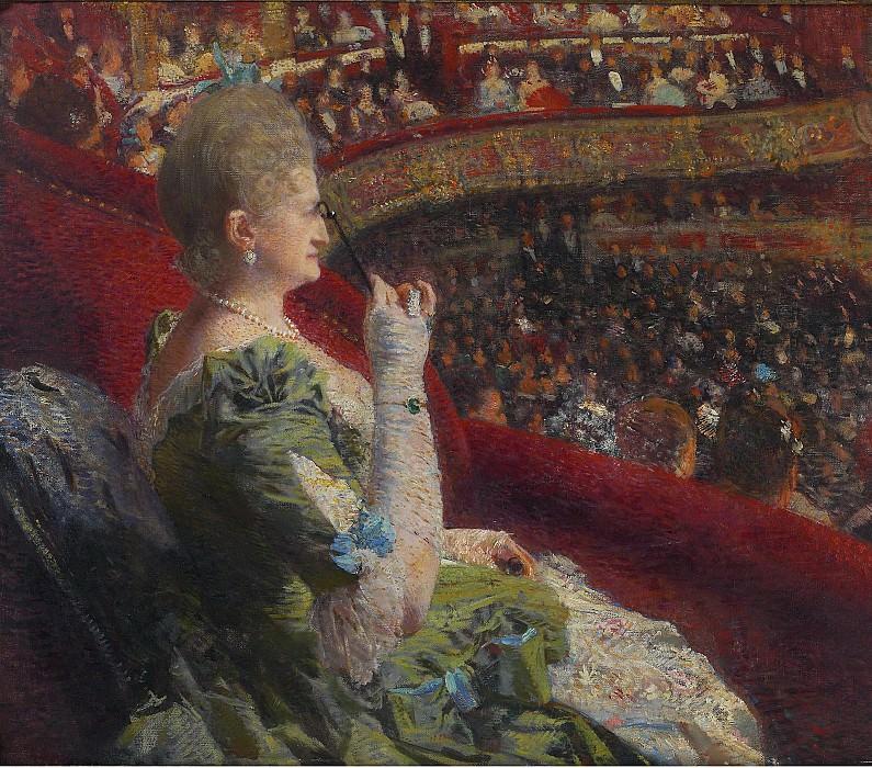 Theo van Rysselberghe - Madame Edmond Picard in the Box of Theatre de la Monnaie, 1887. Sotheby's