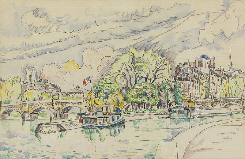 Paul Signac - The Siene at Vert-Galant, 1925. Sotheby's