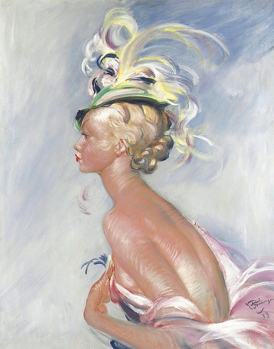 Jean-Gabriel Domergue - Fashionable Woman in Hat with Feathers, 1933s. Картины с аукционов Sotheby's