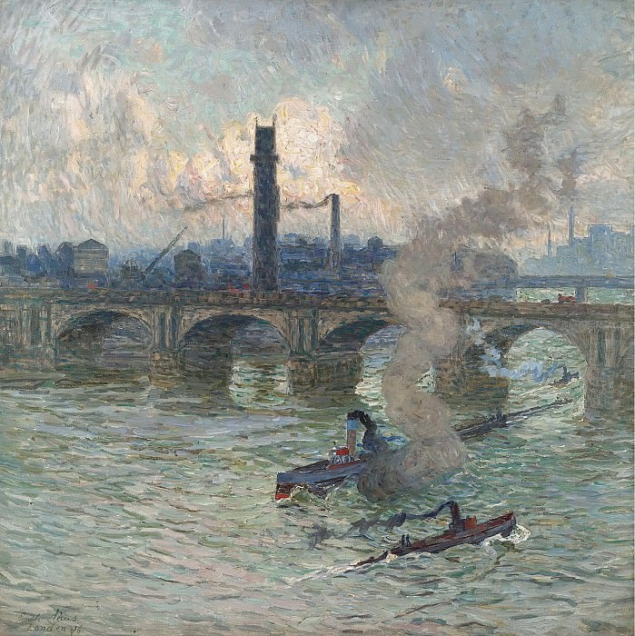 Emile Claus - Streamboats on the Thames, 1916. Sotheby's