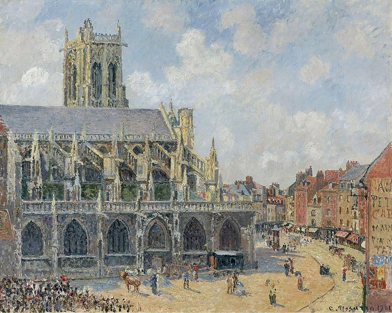 Camille Pissarro The Church Saint-Jaques at Dieppe, Monning, Sun, 1901. Sotheby's