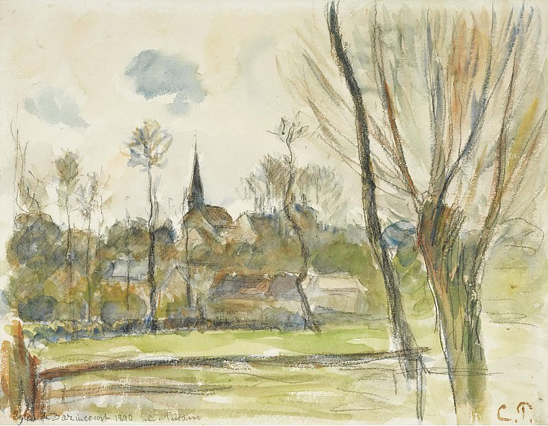 Camille Pissarro - The Esplanade of Bazincourt, 1890. Sotheby's
