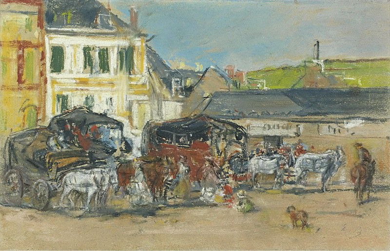 Eugene Boudin - The Carriages, 1880. Sotheby's