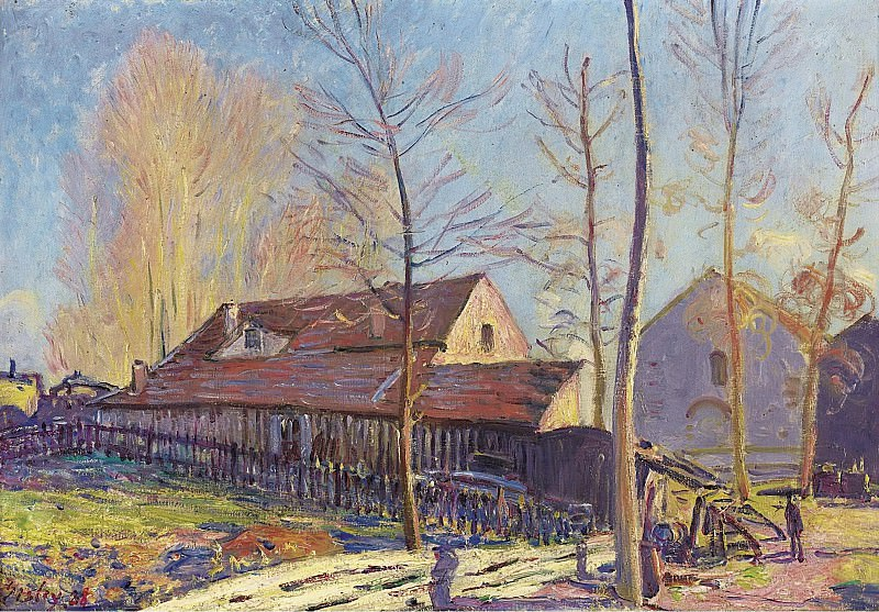 Alfred Sisley - The Mills of Moret, Frost, Evening Effect, 1888. Картины с аукционов Sotheby's