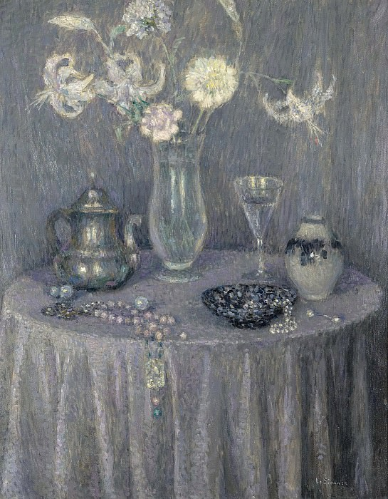 Henri Le Sidaner - The Table, Harmony in Grey, 1927. Sotheby's