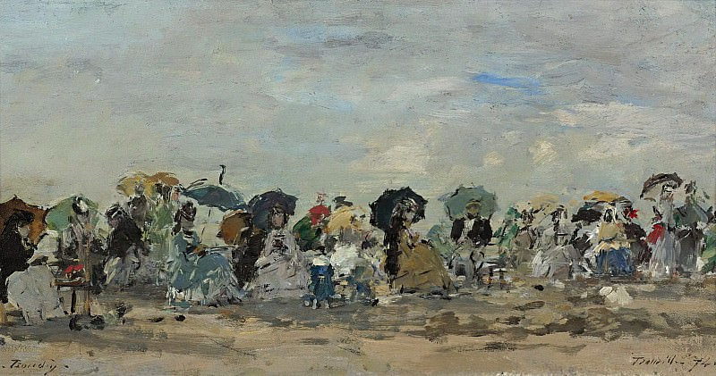 Eugene Boudin - On the Beach of Trouville, 1874. Sotheby's