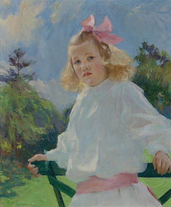 Frank W. Benson - Girl with Pink Bow, 1905. Sotheby's