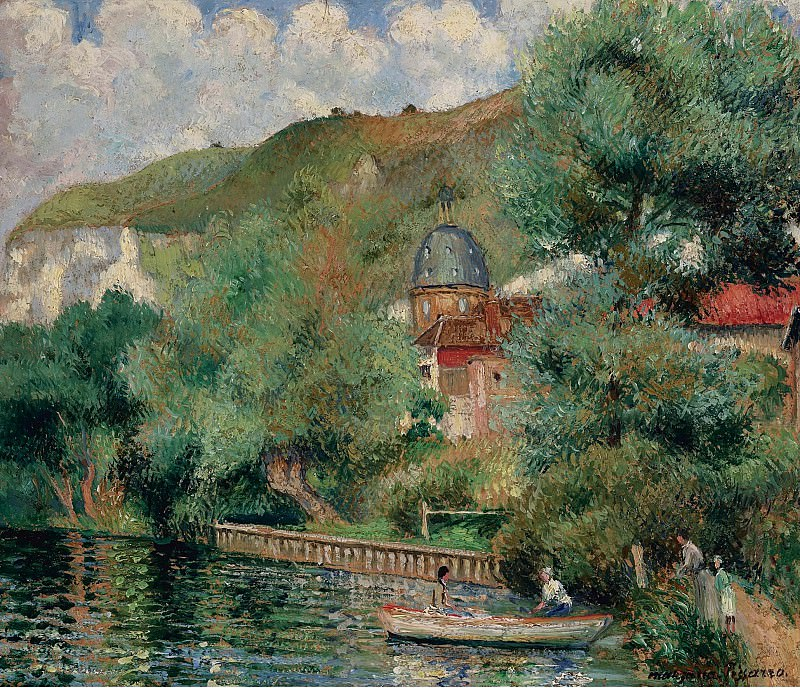 Georges Manzana-Pissarro - Bank of the Seine at Andelys, the Hospice, 1935. Sotheby's