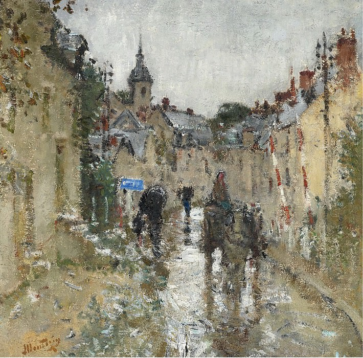 Pierre-Eugene Montezin - Village under the Rain. Sotheby's