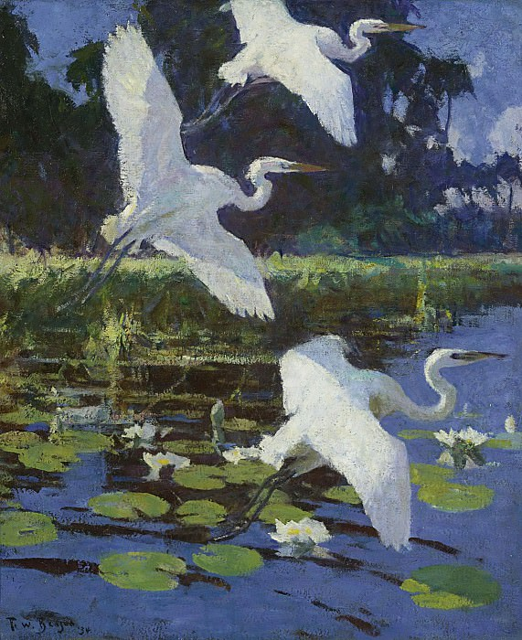 Frank W. Benson - Herons and Lilies, 1934. Sotheby's
