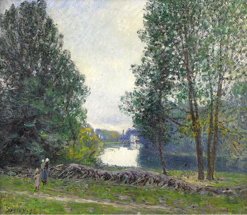 Alfred Sisley - The Banks of the River Loing, 1896. Картины с аукционов Sotheby's
