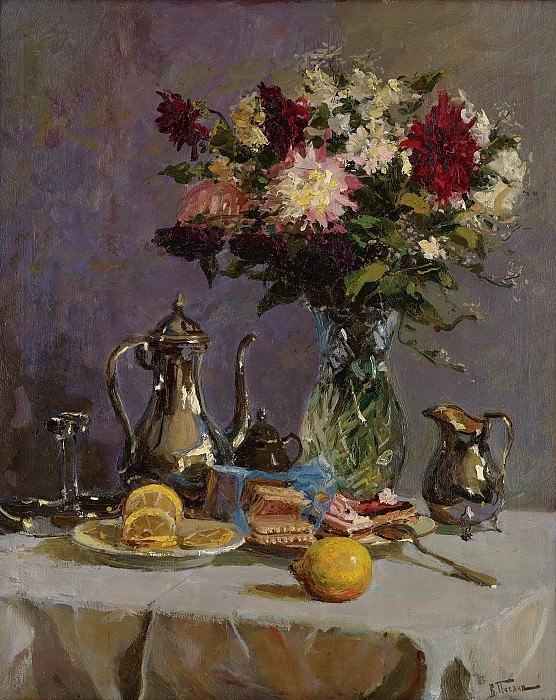 Vladimir Pchelin - Still Life with Teapot and Flowers. Sotheby's