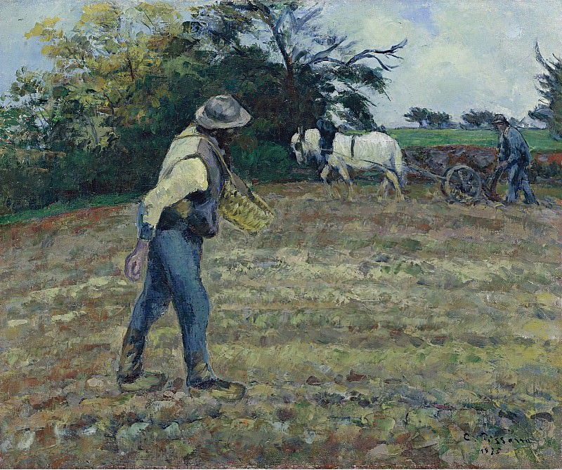 Camille Pissarro - The Sower and the Ploughman, Montfoucault, 1875. Картины с аукционов Sotheby's