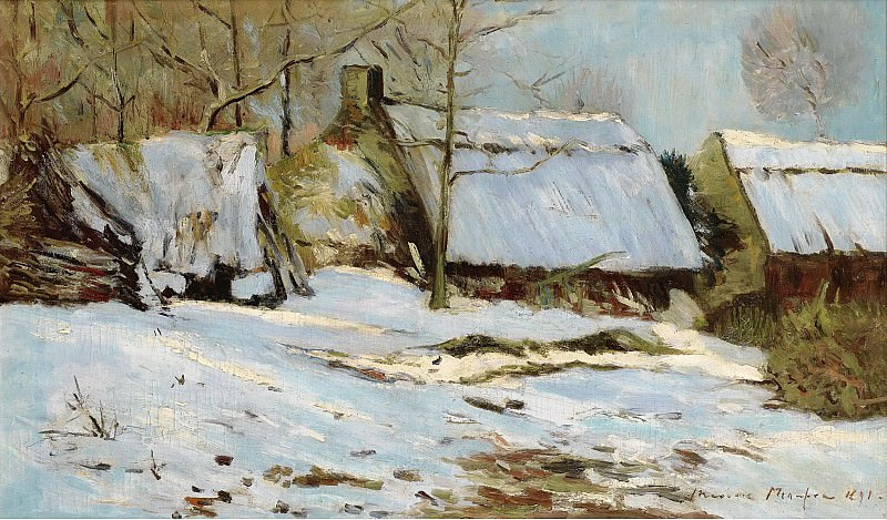 Maxime Maufra - Cabins under the Snow, 1891. Картины с аукционов Sotheby's