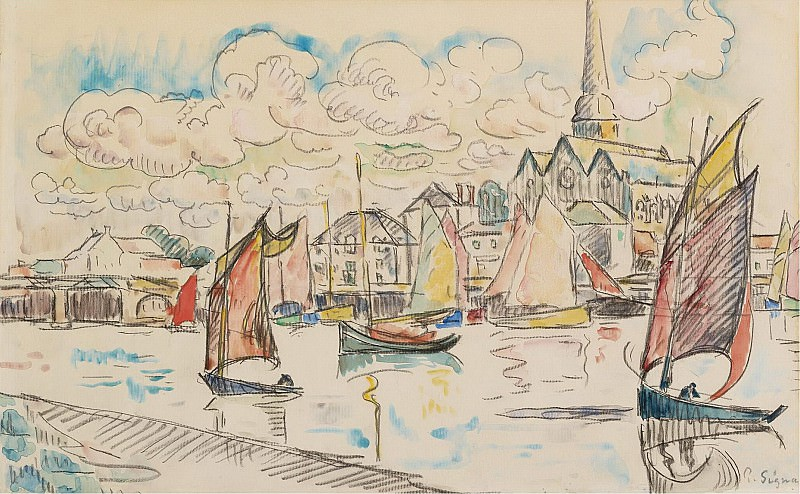 Paul Signac - Sailers in the Port, 1920s. Sotheby's