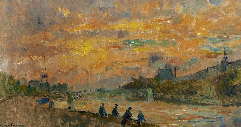 Albert Lebourg - The Bridge of Saint-Peres at Paris, the Sunset. Картины с аукционов Sotheby's