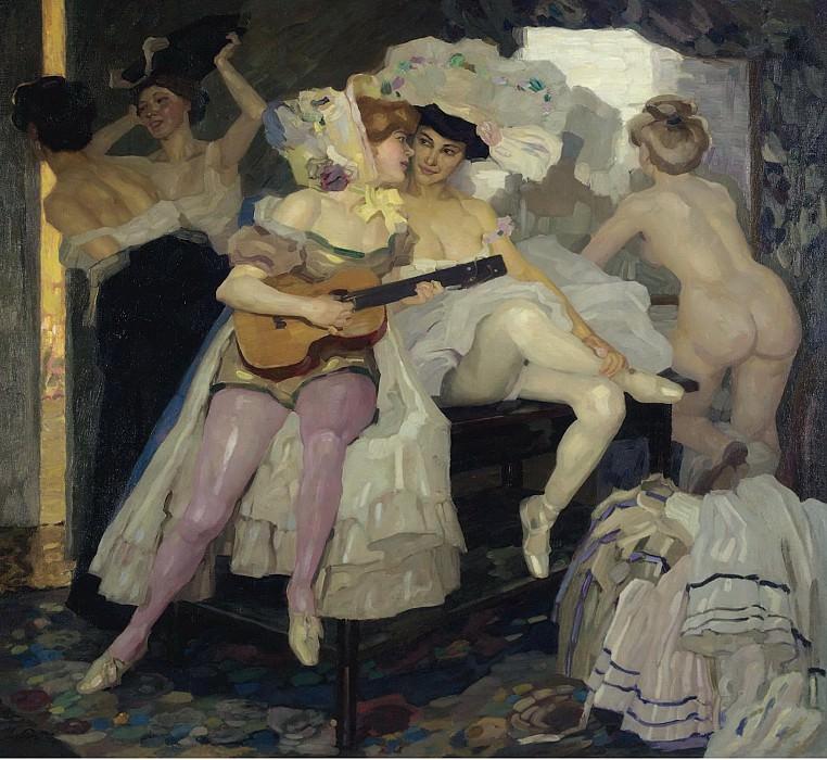 Leo Putz - Behind the Scenes, 1905. Sotheby's