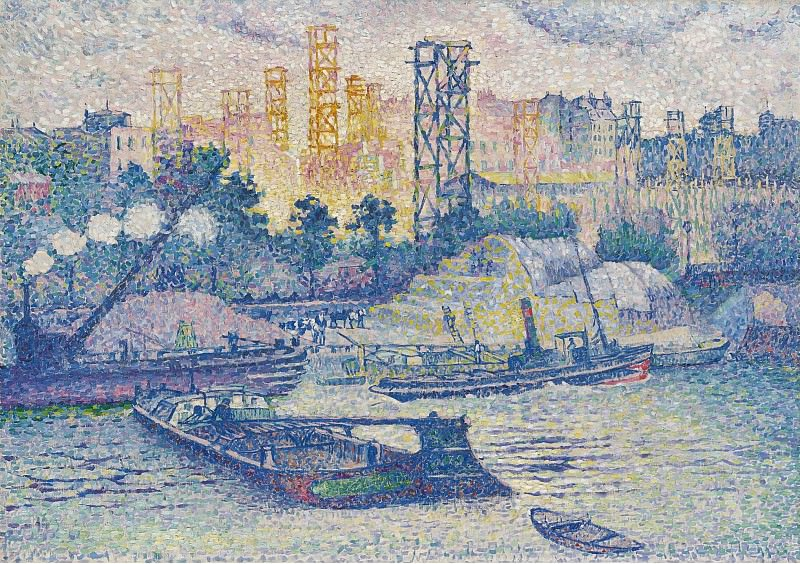 Henri Edmond Cross - The Quay of Passy, 1899. Sotheby's